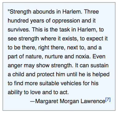 Quote from Margaret Morgan Lawrence - included in text box in her Wikipedia page